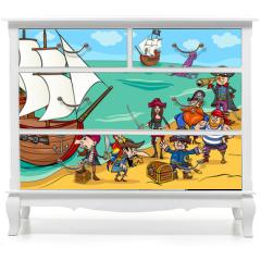 Naklejka na meble - pirates with ship cartoon