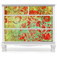 Naklejka na meble - Kwiatowy wzór retro