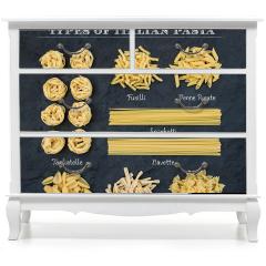Naklejka na meble - Różne rodzaje włoskiej nieugotowanej pasty