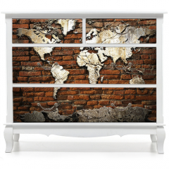 Naklejka na meble - Kamienna mapa świata