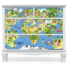 Naklejka na meble - Świetna i zabawna mapa świata