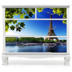 Naklejka na meble - Sekwana i Wieża Eiffla w Paryżu
