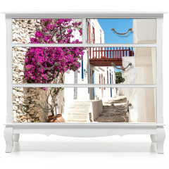 Naklejka na meble - Tradycyjna aleja grecka na wyspie Sifnos, Grecja
