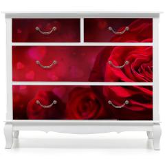 Naklejka na meble - Motyw walentynkowy z różami i kwiatami