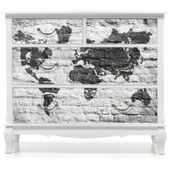 Naklejka na meble - Biała ściana i zdjęcie mapy świata