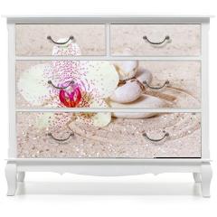 Naklejka na meble - Panorama z orchideami i kamieniami zen w piasku