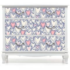 Naklejka na meble - Seamless pattern with doodle hearts