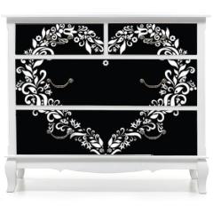 Naklejka na meble - White Embroidery inspired heart shape in won black background