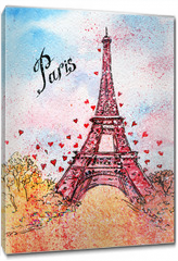 Obraz na płótnie canvas - vintage postcard. watercolor illustration. Paris,France, Eiffel Tower