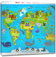 Obraz na płótnie canvas -  map of the world with animals - vector illustration, eps