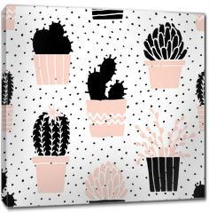 Obraz na płótnie canvas - Hand Drawn Cactus Pattern