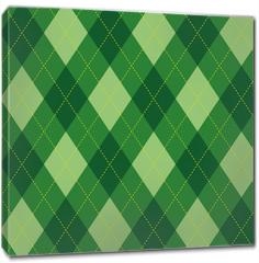 Obraz na płótnie canvas - Argyle pattern green rhombus seamless texture, illustration