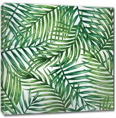 Obraz na płótnie canvas - Watercolor tropical palm leaves seamless pattern. Vector illustration.