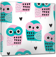 Obraz na płótnie canvas - seamless owl bird pattern vector illustration