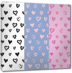 Obraz na płótnie canvas - Hand-drawn seamless pattern set with hearts