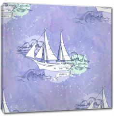 Obraz na płótnie canvas - Seamless patt waves ships