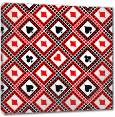 Obraz na płótnie canvas - Seamless vector pattern with icons of playings cards. Bright red, black and white symmetrical geometric background. Decorative repeating ornament. Series of Geometric, Ornamental Seamless Pattern
