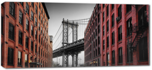 Obraz na płótnie canvas - Manhattan Bridge from Washington Street, Brooklyn