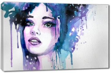 Obraz na płótnie canvas - Abstract watercolor illustration depicting a portrait of a woman