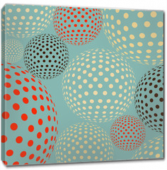 Obraz na płótnie canvas - Dotted balls floating, like molecules or bacteria under a microscope, in a multicolored blue  palette