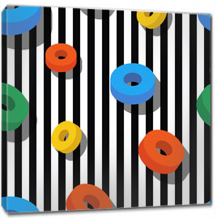 Obraz na płótnie canvas - Seamless pattern pattern with colorful rings on black and white stripes. Vector geometric background. Flat design concept for fashion textile print, wrapping paper or web backgrounds