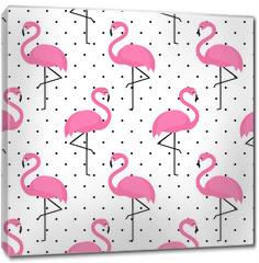 Obraz na płótnie canvas - Flamingo seamless pattern on polka dots background. Flamingo vector background design for fabric and decor.