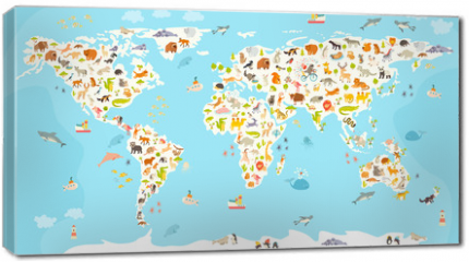 Obraz na płótnie canvas - World mammal map. Beautiful cheerful colorful vector illustration for children and kids. Preschool, baby, continents, oceans, drawn, Earth