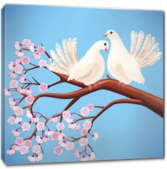 Obraz na płótnie canvas - Two white doves on the branch