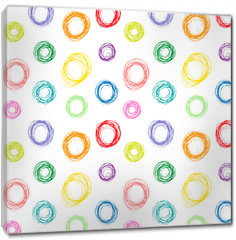Obraz na płótnie canvas - Hand drawn colorful circles seamless pattern, vector illustration