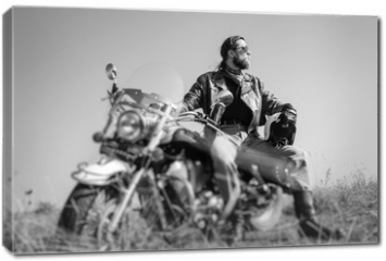 Obraz na płótnie canvas - Portrait of a young man with beard sitting on his cruiser motorcycle and looking to the sun. Man is wearing leather jacket and blue jeans. Low point of view. Tilt lens blur effect. Black and white