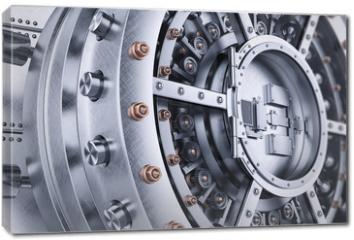 Obraz na płótnie canvas - Vault bank safe open door mechanism closeup 3d