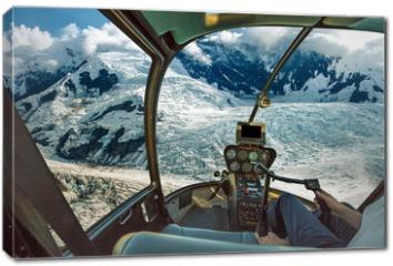 Obraz na płótnie canvas - Helicopter cockpit flying. Spectacular glaciers of Denali National Park, Alaska, United States.