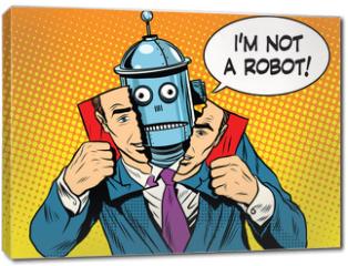 Obraz na płótnie canvas - artificial intelligence robot pretending to be human