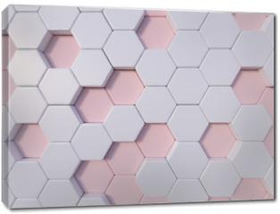 Obraz na płótnie canvas - Rose Quartz  abstract 3d hexagon background bee hive