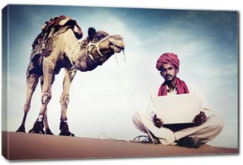 Obraz na płótnie canvas - Indian Man Using Laptop Desert Concept
