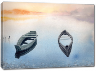 Obraz na płótnie canvas - Two old boats on the lake.Picture created with watercolors.