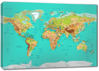 Obraz na płótnie canvas - Map of the World, vector illustration. Names and borders on separate layer.