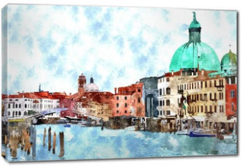 Obraz na płótnie canvas - Abstract watercolor digital generated painting of the main water canal, houses and gondolas in Venice, Italy.