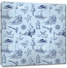 Obraz na płótnie canvas - marine vector seamless background with lighthouse and seagulls