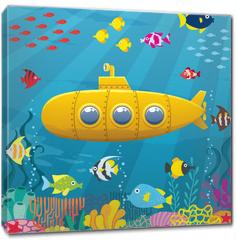 Obraz na płótnie canvas - Submarine Background / Cartoon yellow submarine underwater.