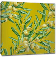 Obraz na płótnie canvas - Background olive branch. seamless pattern. watercolor illustrati