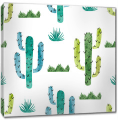 Obraz na płótnie canvas - Watercolor cactus seamless pattern. Vector background with green and blue cactus isolated on white.