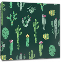 Obraz na płótnie canvas - Cactus seamless pattern. Vector background with cactus and succulents