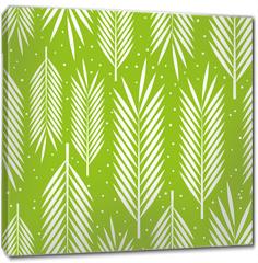 Obraz na płótnie canvas - Seamless pattern with palm leaves ornament