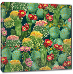 Obraz na płótnie canvas - pattern with blooming cactuses