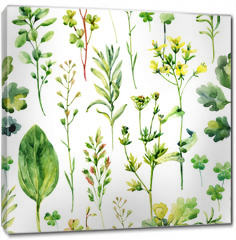 Obraz na płótnie canvas - Watercolor meadow weeds and herbs seamless pattern
