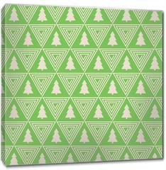 Obraz na płótnie canvas - seamless vector pattern of christmas tree silhouette and triangle spiral.