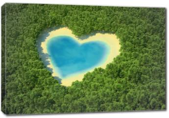 Obraz na płótnie canvas - Heart-shaped pond in a tropical forest