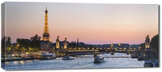Obraz na płótnie canvas - Paris, traffic on the Seine river at sunset, with Eiffel tower i