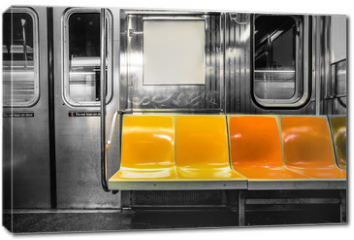 Obraz na płótnie canvas - New York City subway car interior with colorful seats